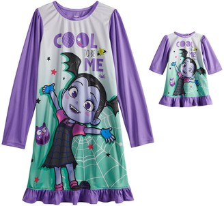 Licensed Character Disney's Vampirina Girl's 4-8 Long Sleeve Dorm Nightgown & Doll Nightgown