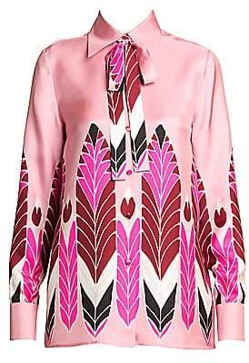 Valentino Women's Pop Feather Silk Tieneck Blouse