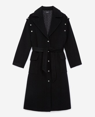 The Kooples Long black wool coat with press studs