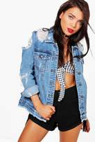 Boohoo Petite Serena Distressed Oversized Denim Jacket blue