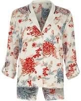 River Island Womens White floral print split back pajama shirt