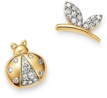 Adina Reyter 14K Yellow Gold Garden Diamond Pave Lady Bug & Butterfly Mismatch Stud Earrings - 100% Exclusive