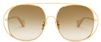 Loewe Oversized Round Metal Sunglasses - Womens - Gold