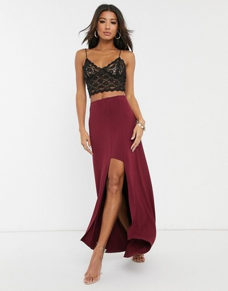 ASOS DESIGN step split full maxi skirt with dipped hem