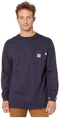 Carhartt Flame-Resistant (FR) Force Cotton Long Sleeve T-Shirt (Dark Navy) Men's T Shirt