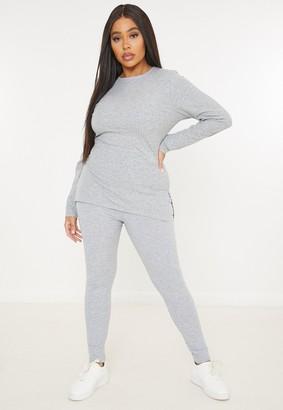 Missguided Plus Size Grey Rib Leggings