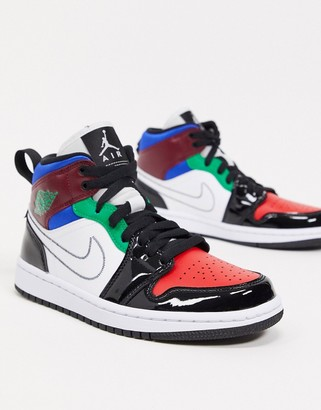 Jordan Air 1 Mid trainers with stitch swoosh in multi