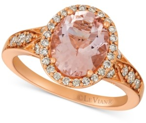 LeVian Le Vian Morganite (1-3/4 ct. t.w.) and Diamond (3/8 ct. t.w.) Ring in 14k Rose Gold