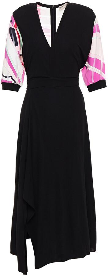 Emilio Pucci Asymmetric Printed Burnout Twill-paneled Jersey Midi Dress