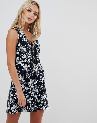Urban Bliss floral dress with lace up