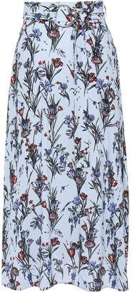 Markus Lupfer Emmie Belted Floral-print Crepe Midi Skirt