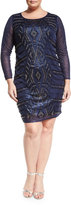 Neiman Marcus Beaded Sheath Dress, Navy, Plus Size