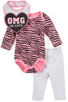 Bon Bebe Pink & Gray Zebra 'OMG So Cute' Bodysuit Set