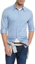 Brunello Cucinelli Jersey Long-Sleeve Sport Shirt, Pale Blue