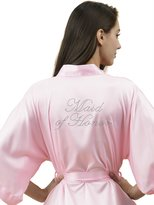 SIORO Kids Personalized Satin Robes Bridal Wedding Party Night Dressing Gowns for Flower Girl, White, L
