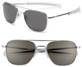 Randolph Engineering Men's 55Mm Polarized Aviator Sunglasses - Bright Chrome/ Grey