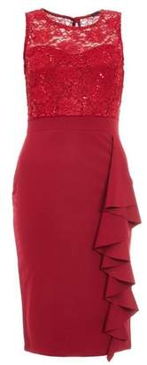 Dorothy Perkins Womens *Quiz Berry Sequin Lace Frill Midi Dress