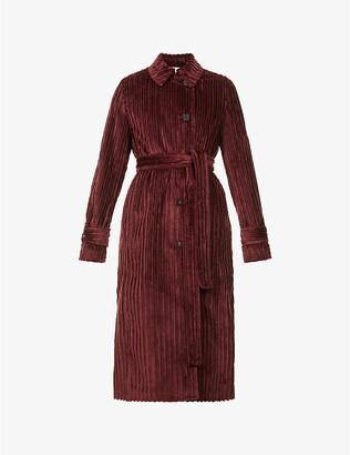 VVB Belted cotton-velvet trench coat