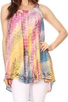 Sakkas 86657 - Sakkas Amalia Picot Trim Scoop Neck Tank with Sequins and Embroidery - OS