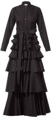 Talented Long Ruffle Dress with Belt Black