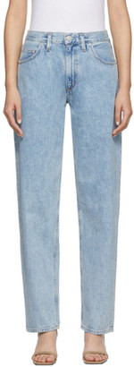 A Gold E Agolde AGOLDE Blue Baggy Mid Rise Pleated Oversized Jeans