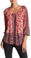 Lucky Brand Placed Print Peasant Blouse