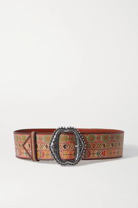 Etro Printed Leather Belt - Beige