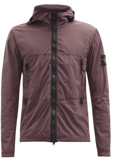 Stone Island Skin Touch Nylon-tc Hooded Garment-dyed Jacket - Burgundy