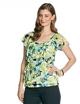 Amy Byer Lace Tiered Floral Knit Top