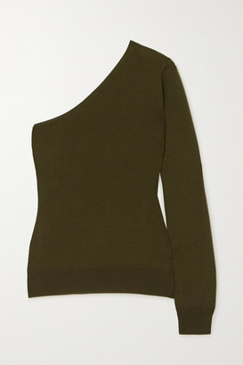 Tom Ford One-sleeve Cashmere And Silk-blend Sweater - Army green