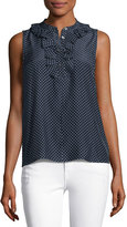 Frame Small Ruffle Sleeveless Top, Navy Polka Dot