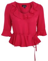 Topshop Red frill blouse