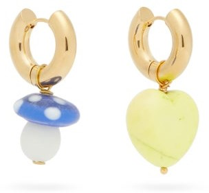 Timeless Pearly Mismatched Glass & 24kt Gold-plated Hoop Earrings - Gold