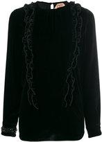 No.21 frill trim velvet blouse