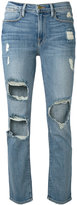 Frame cropped distressed jeans - women - Cotton/Spandex/Elastane/polyester - 24