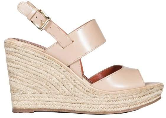Santoni Leather Wedge Sandals