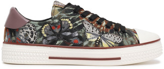 Valentino Leather-trimmed Embroidered Tie-dyed Canvas Sneakers