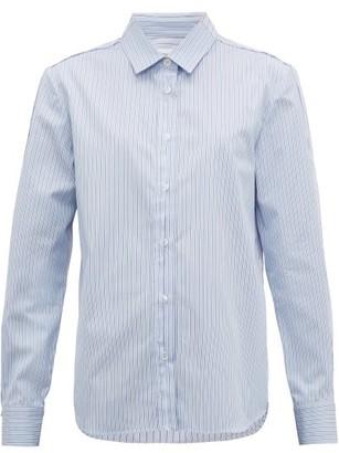 Golden Goose Deconstructed Striped Cotton-poplin Shirt - Womens - Blue