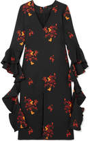 Ellery Reuben Ruffled Floral-print Crepe Midi Dress - Black