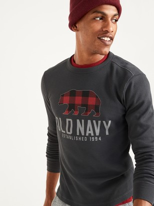 Old Navy Soft-Washed Logo-Graphic Thermal-Knit Long-Sleeve Tee for Men