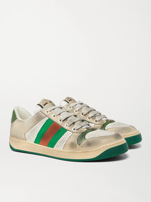 Gucci Virtus Distressed Leather and Webbing Sneakers - Men - Off-white