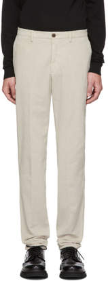Ermenegildo Zegna Off-White Corduroy Long Sport Trousers