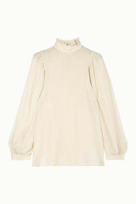 Vanessa Bruno Murphy Ruffled Pintucked Silk-blend Chiffon Blouse - Ivory