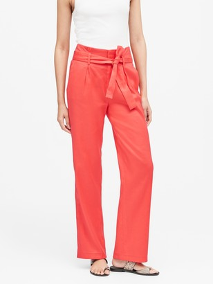 Banana Republic Petite High-Rise Wide-Leg Linen-Cotton Pant