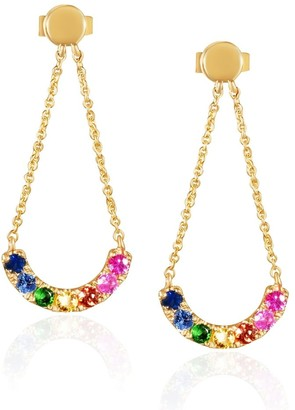 Overstock 14KT Yellow Gold and Precious Gemstones Multicolor Rainbow Curved Chandelier Dangling Fashion Earrings for Women