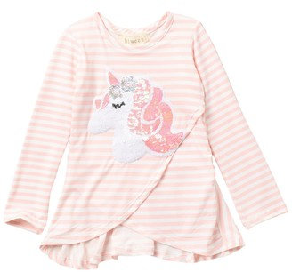 Btween Unicorn High/Low Crossover Peplum Hem Top (Toddler Girls)