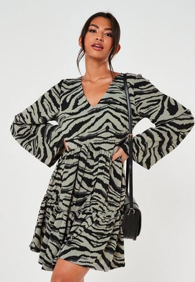 Missguided Zebra Print Tiered Smock Dress