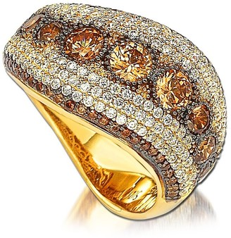 Suzy Levian 14K Gold Plated Sterling Silver Chocolate & White CZ Ring