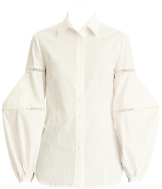 Carolina Herrera Tulle Logo-Trim Puff-Sleeve Shirt