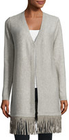 T Tahari Larissa Fringe-Hem Sweater, Light Gray